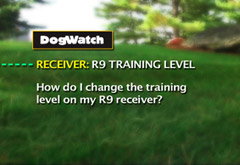 How do I change the training level on my R9 receiver?